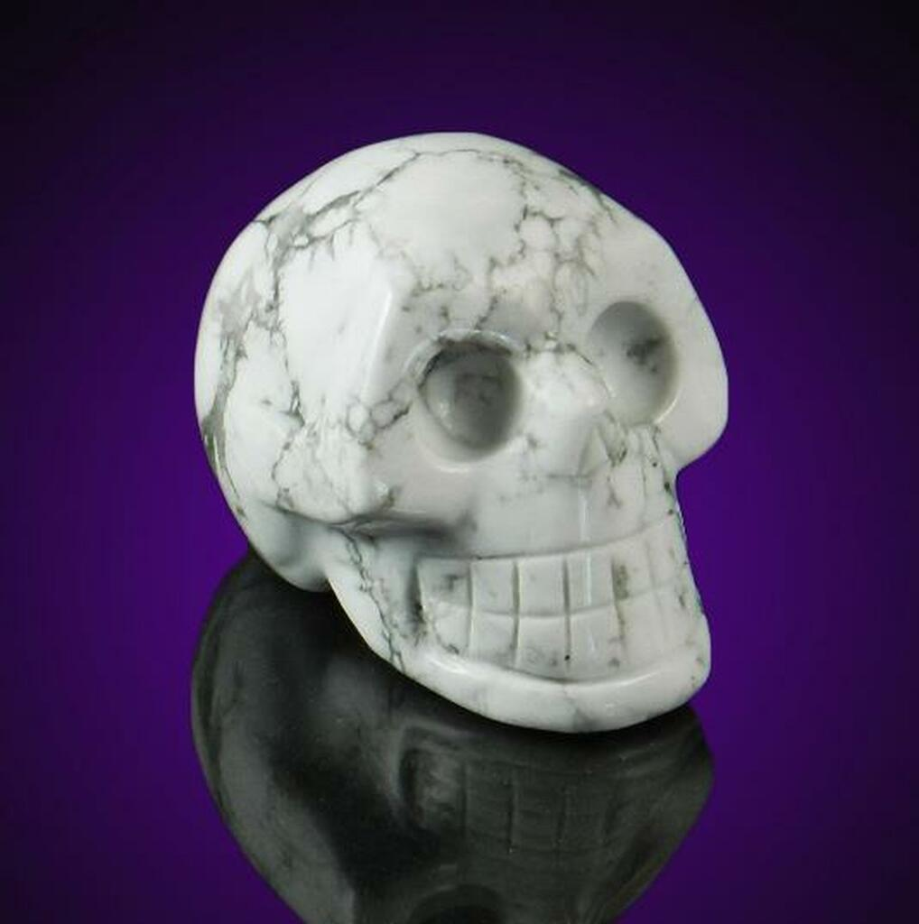 White Howlite Gemstone Skull