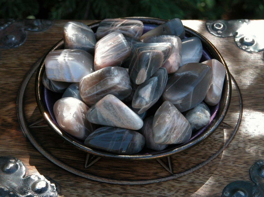 Black Moonstone Tumbled Gemstones Set 2 Large . Feminine Energy, Protection, Love, Wishes, Peace, Harmony, Divination, Healing