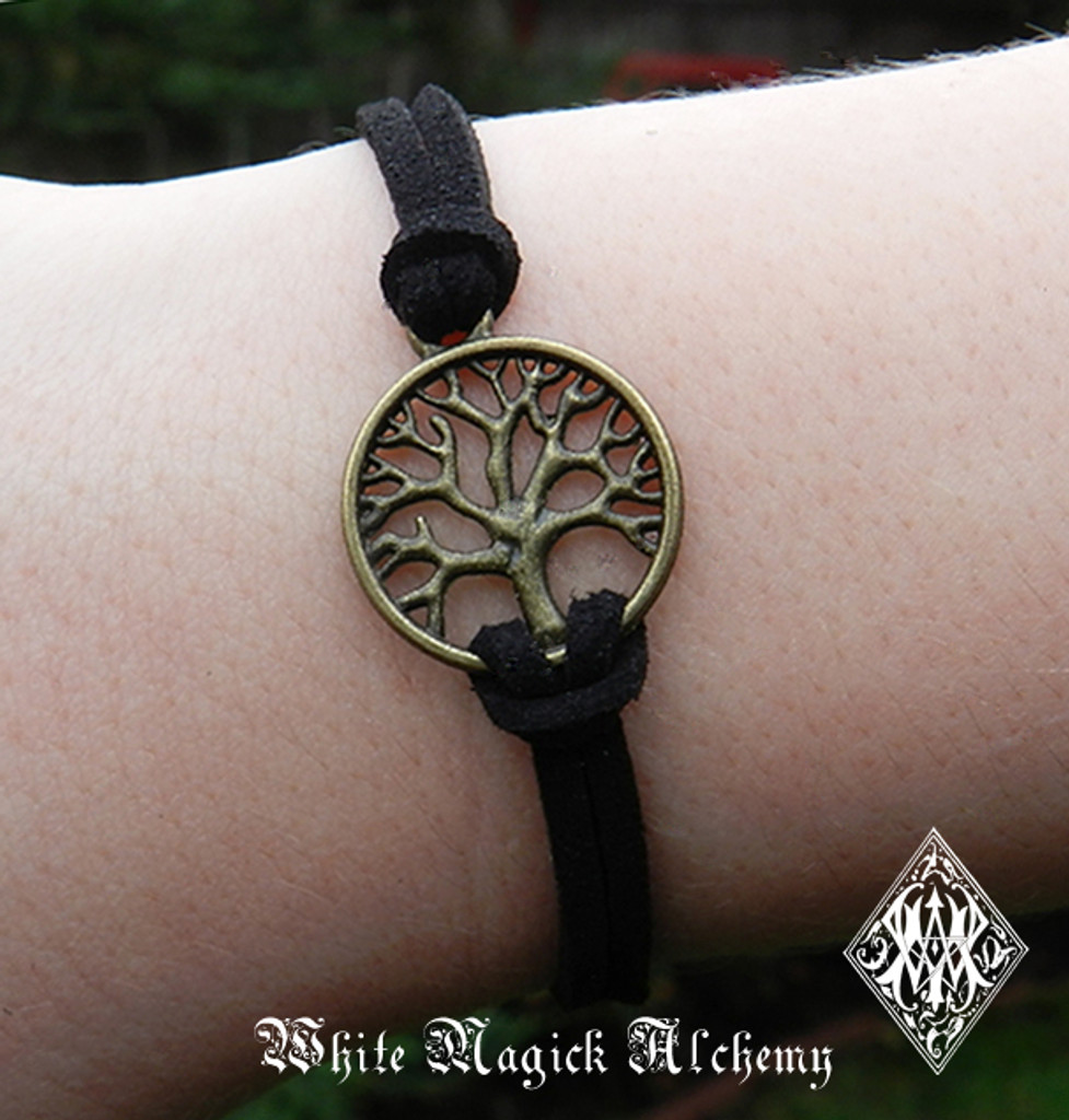 Tree of Life Bracelet Bronze Black Cord Wicca Pagan