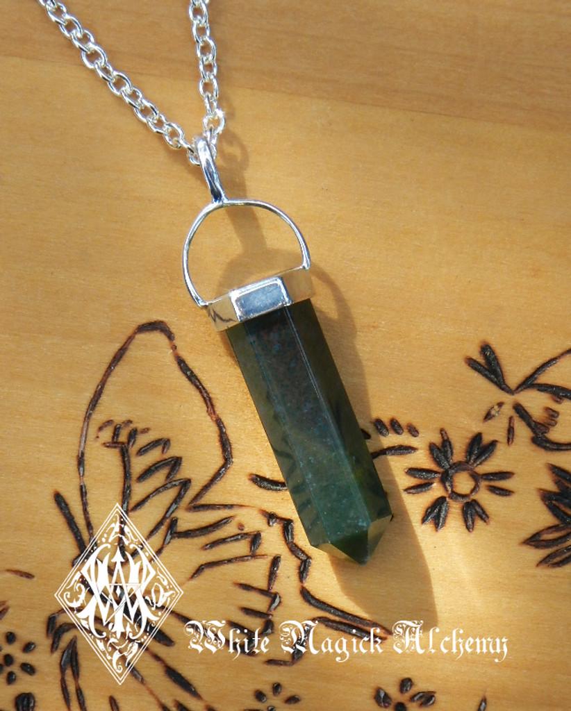 Bloodstone Point Pendulum Necklace Silver