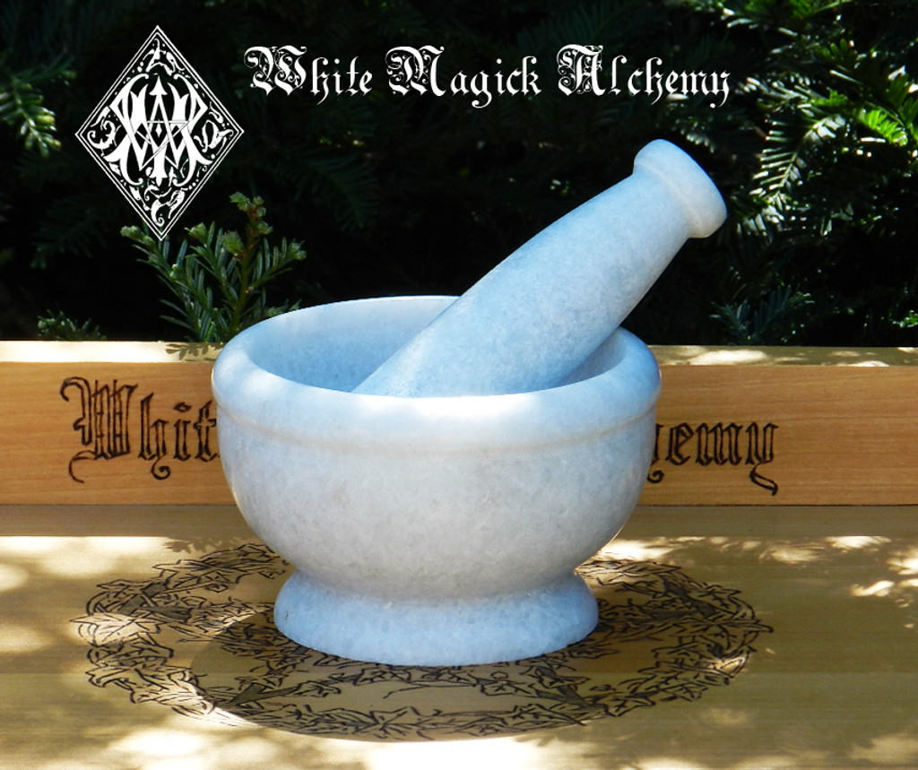 White Stone Mortar & Pestle White Witch