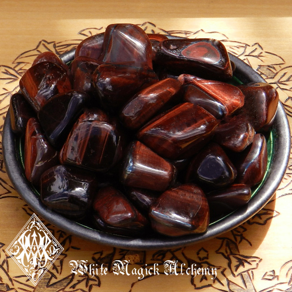 Red Tiger Eye Tumbled Gemstones for Healing, Anxiety, Strength Set of 2