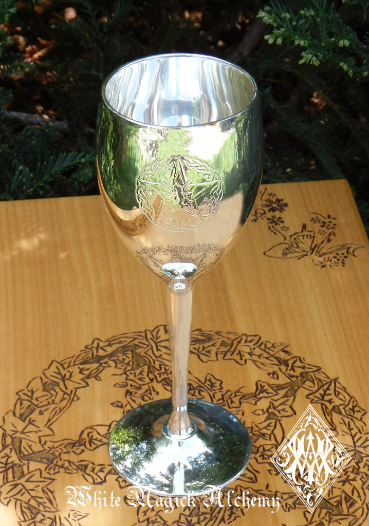 Faerie Pentacle Silver Chalice Goblet Cup