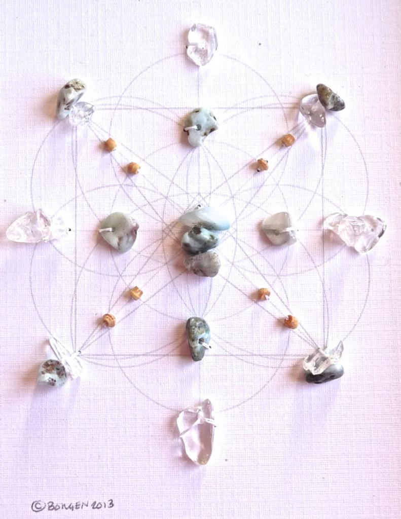 Crystal Grid ATLANTIS with Crystal Quartz and Larimar