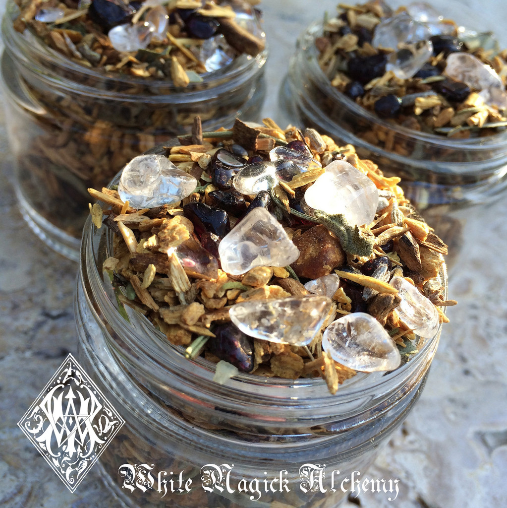 Shamans Crystal Incense Potion . Sacred Wood Smudging Incense Blend with Palo Santo, Sage, Herbs and Crystals, Clearing, Banishing