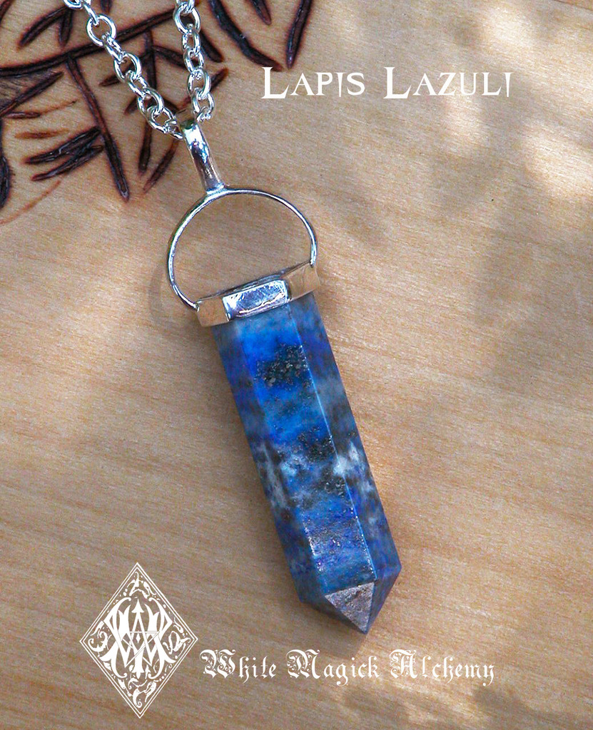 Lapis Lazuli Pendulum Gemstone Necklace . Knowledge, Wisdom, Intuition, Shields Negativity, Evil Eye