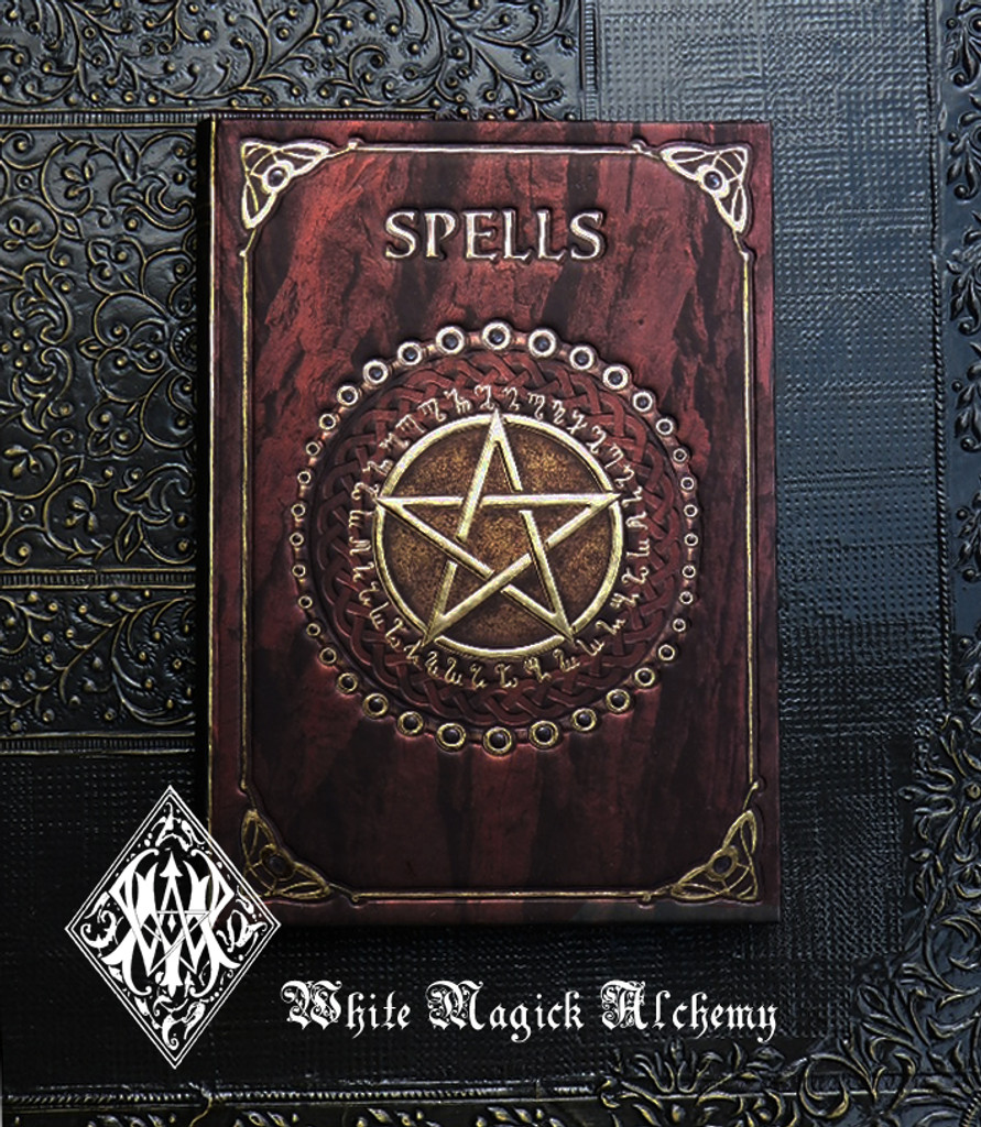 Spell Book . Book of Spells Old World Bordeaux Red 5x7