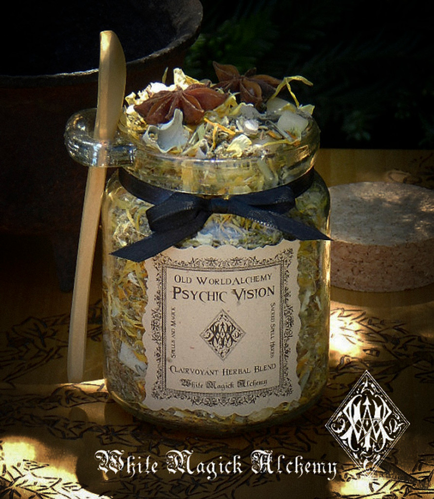 PSYCHIC VISION Proprietary Herbal Spell Blend 8.5 Ounce Jar with Wooden Spoon