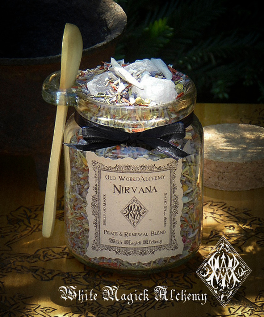 NIRVANA Proprietary Peace & Meditation Herbal Spell Blend 8.5 Ounce Jar with Wooden Spoon