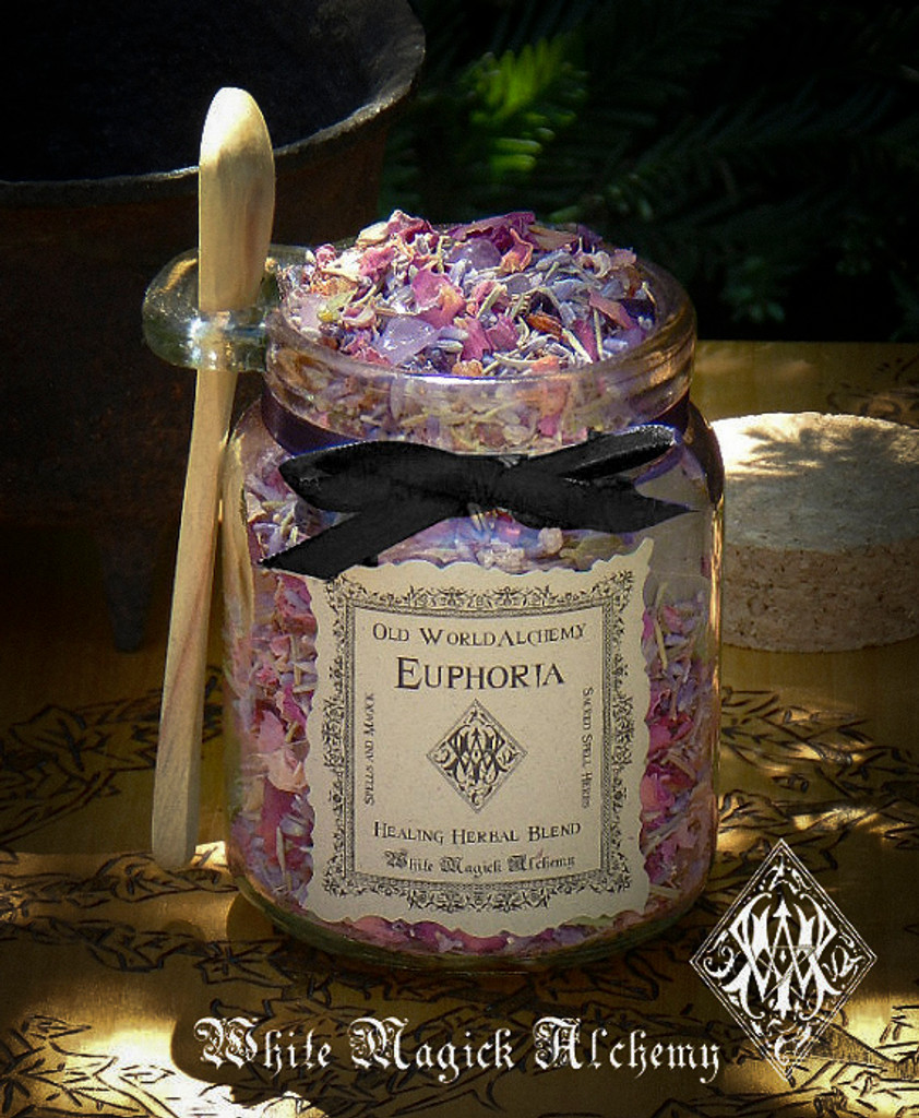 EUPHORIA Proprietary Healing Herbal Spell Blend 8.5 Ounce Jar with Wooden Spoon