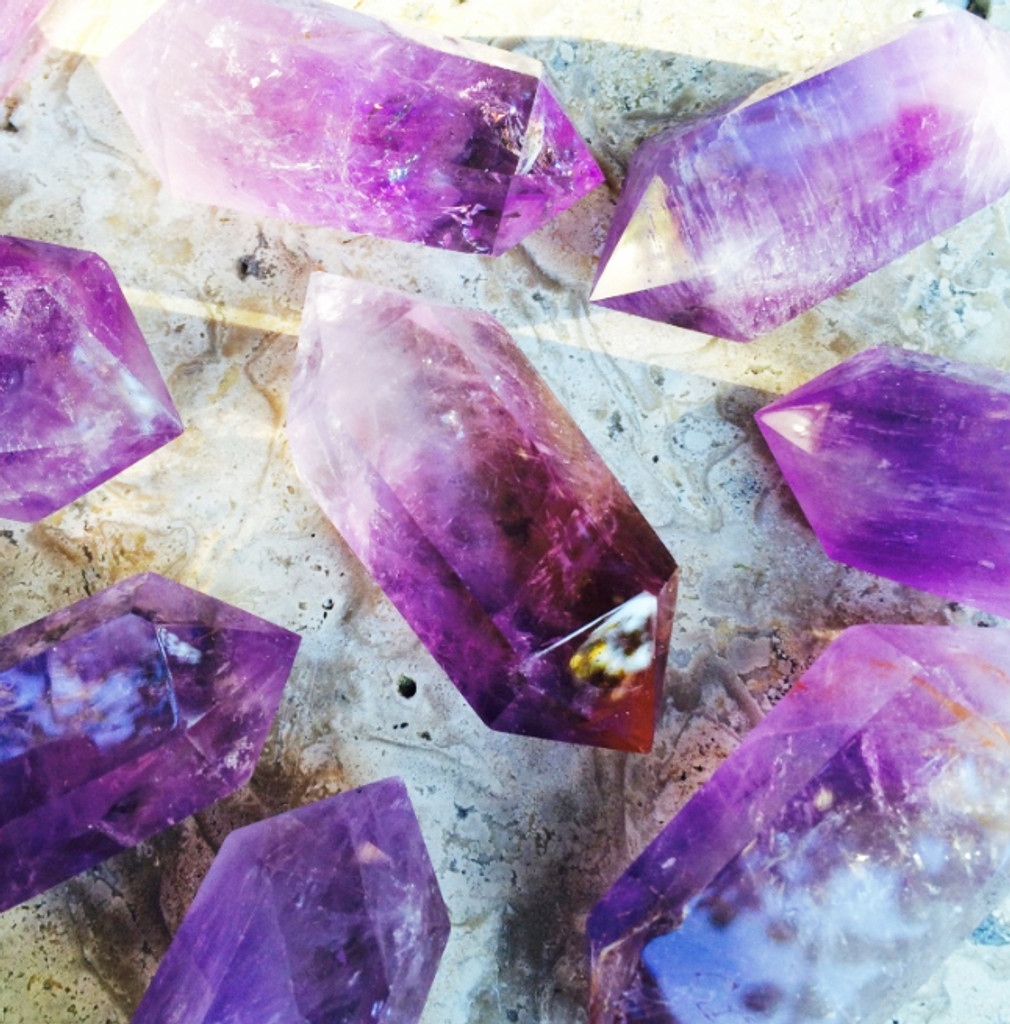 Amethyst Double Terminated Crystal Gemstone Points