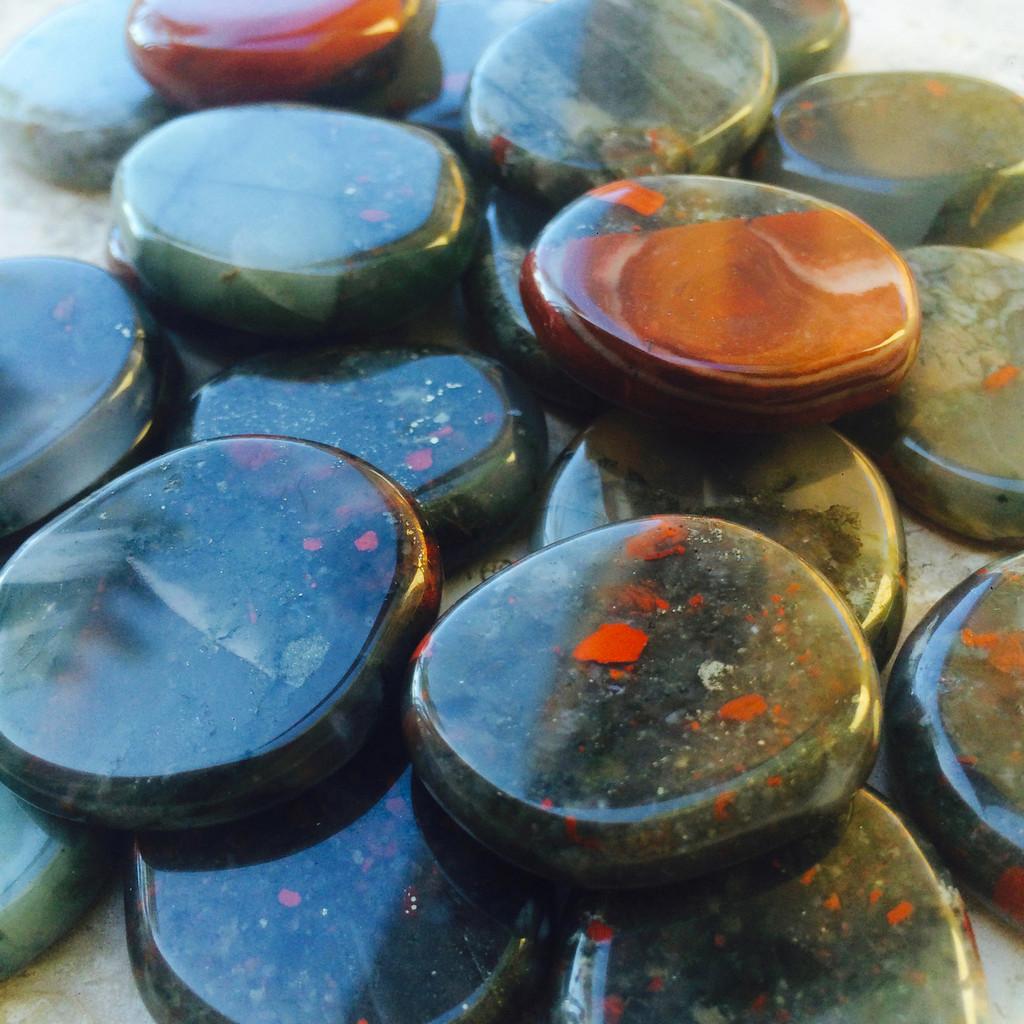 Bloodstone Gemstone Medallions, Healing, Blood Health, Anxiety, Depression, Justice, Legal