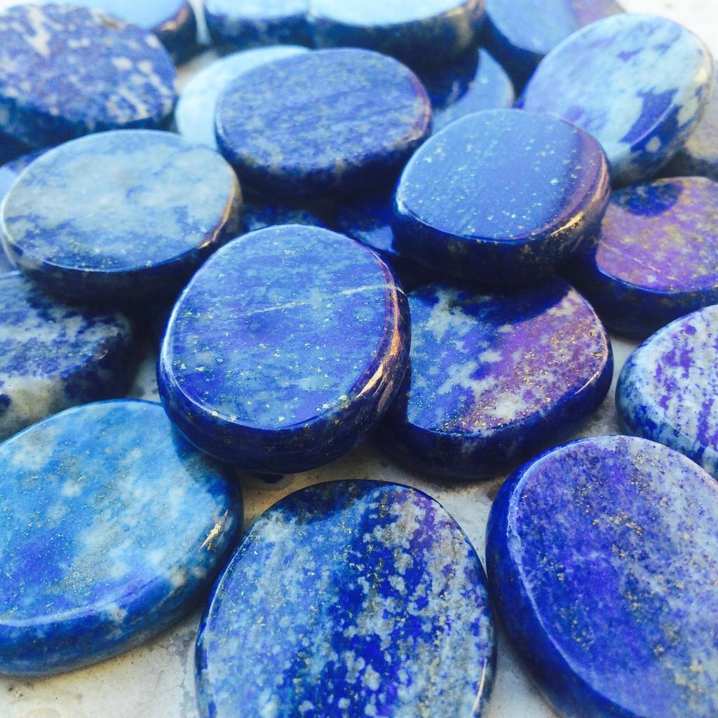 Lapis Lazuli Gemstone Medallions, The Ancient Stone of Knowledge & Wisdom, Great for Verigo