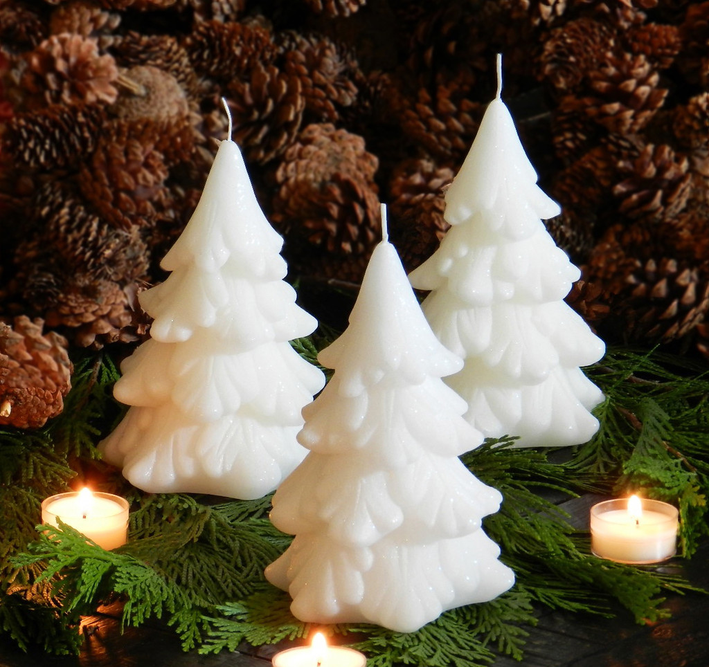 Diamond Dusted Snow White Yule Tree Candles