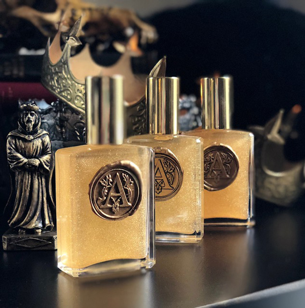 Alchemy Gold™ Alchemy Perfume Potion with Liquid Gold Agarwood, Oud Incense, Black Amber, Saffron Attar, Tobacco & Dark Woods, Gilded in 24 Karat Gold