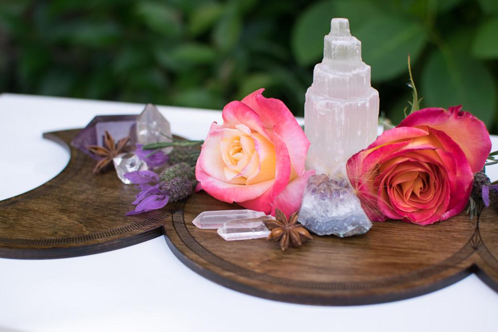 Triple Goddess Moon Shrine Wooden Altar Crystal Board - Maiden, Mother & Crone