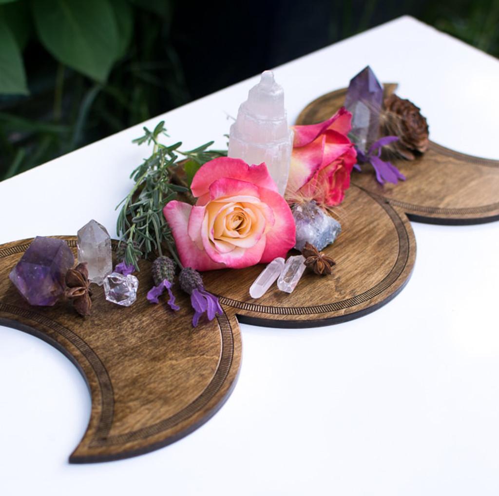 Triple Goddess Moon Shrine Wooden Altar Crystal Board