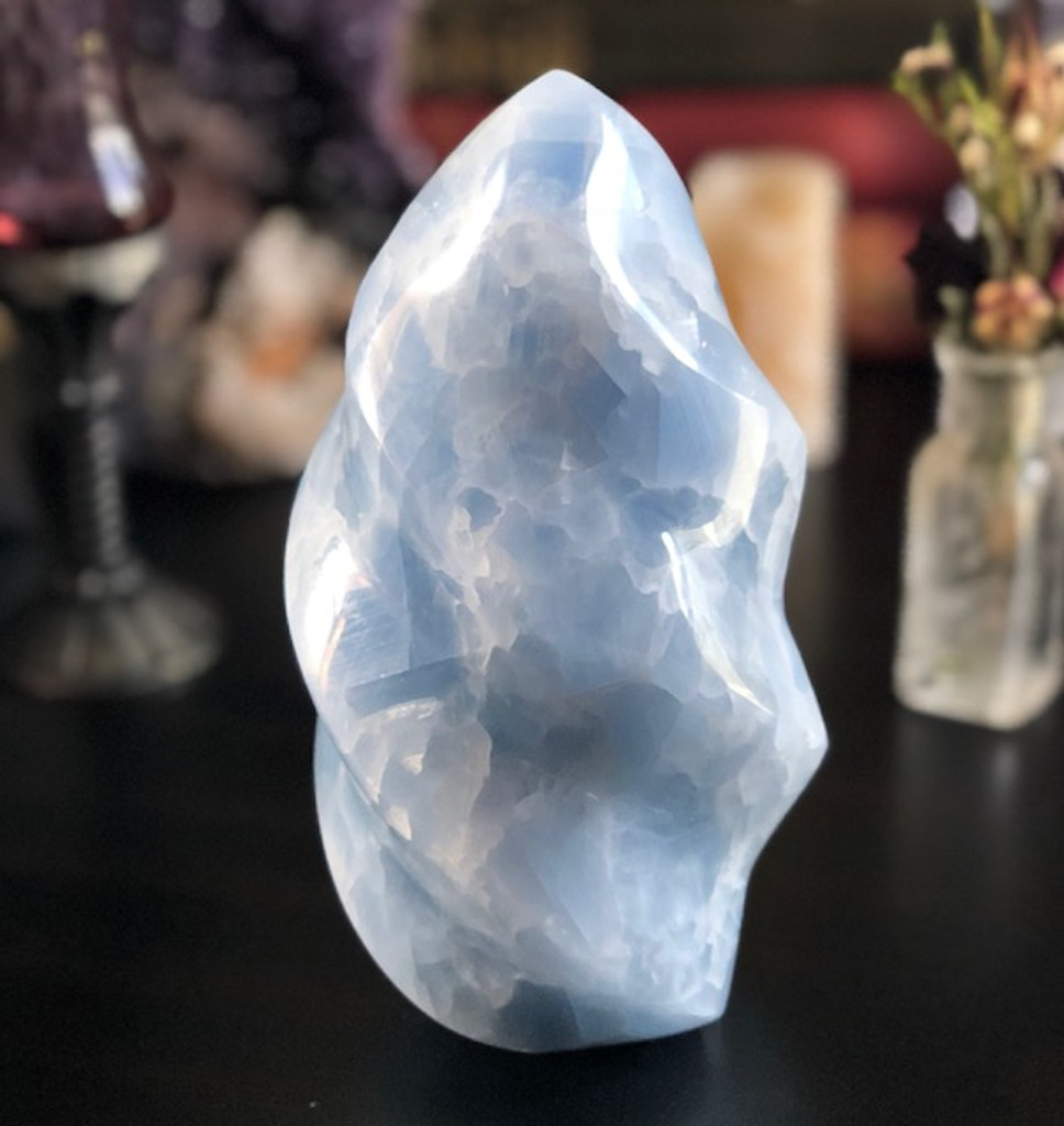 Large Blue Calcite Flame