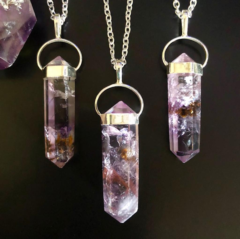 Super Seven Pendulum Necklace, Super 7 Crystal Gemstone for Divine Enlightenment & More Large Sized Stones