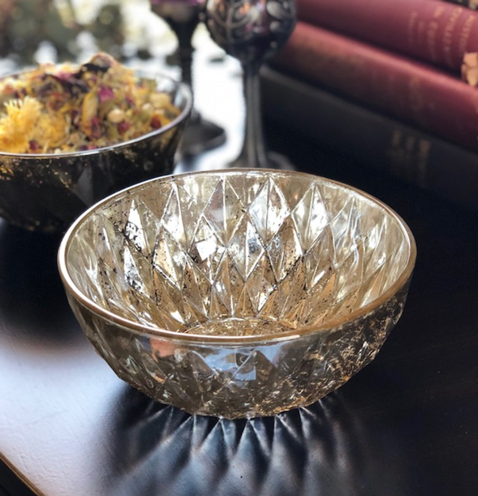 Vintage Diamond Distressed Mercury Glass Offering Bowl