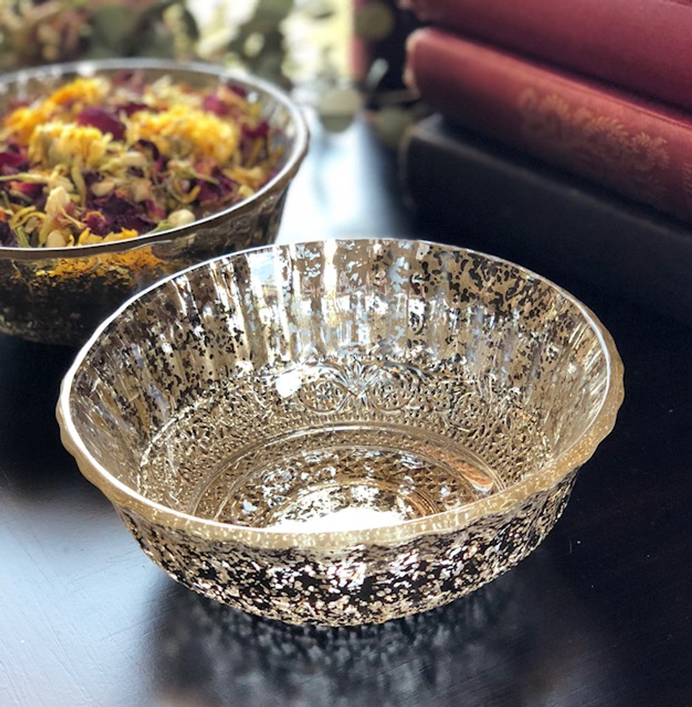 Vintage Victorian Distressed Gilded Mercury Glass Offering Bowl