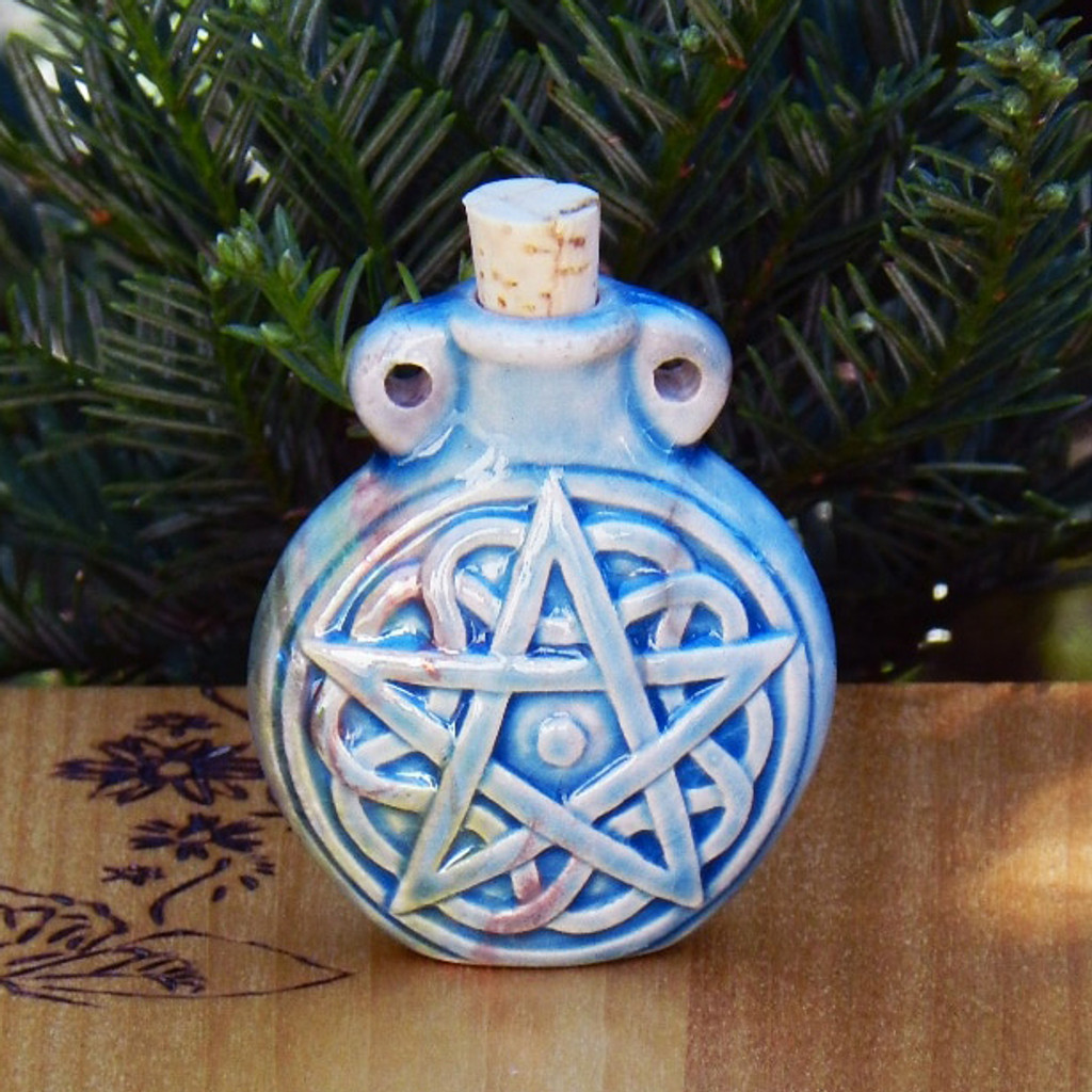 Pentacle Ceramic Bottle for Spell Oils,  Ashes, Diffuser Pendant