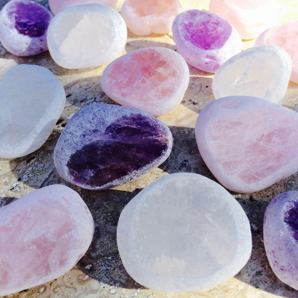 Gemstones for Divination Amethyst Rose Quartz