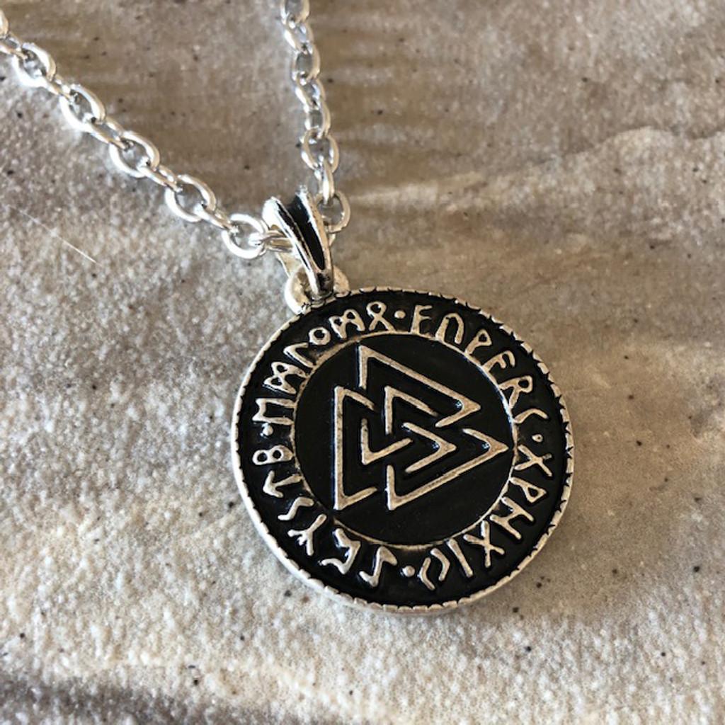 Sterling Silver Valknut Necklace Pendant