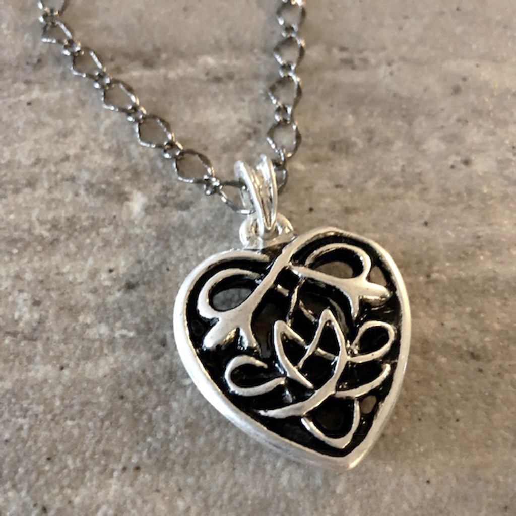 Sterling Silver Celtic Heart Pendant Necklace Jewelry