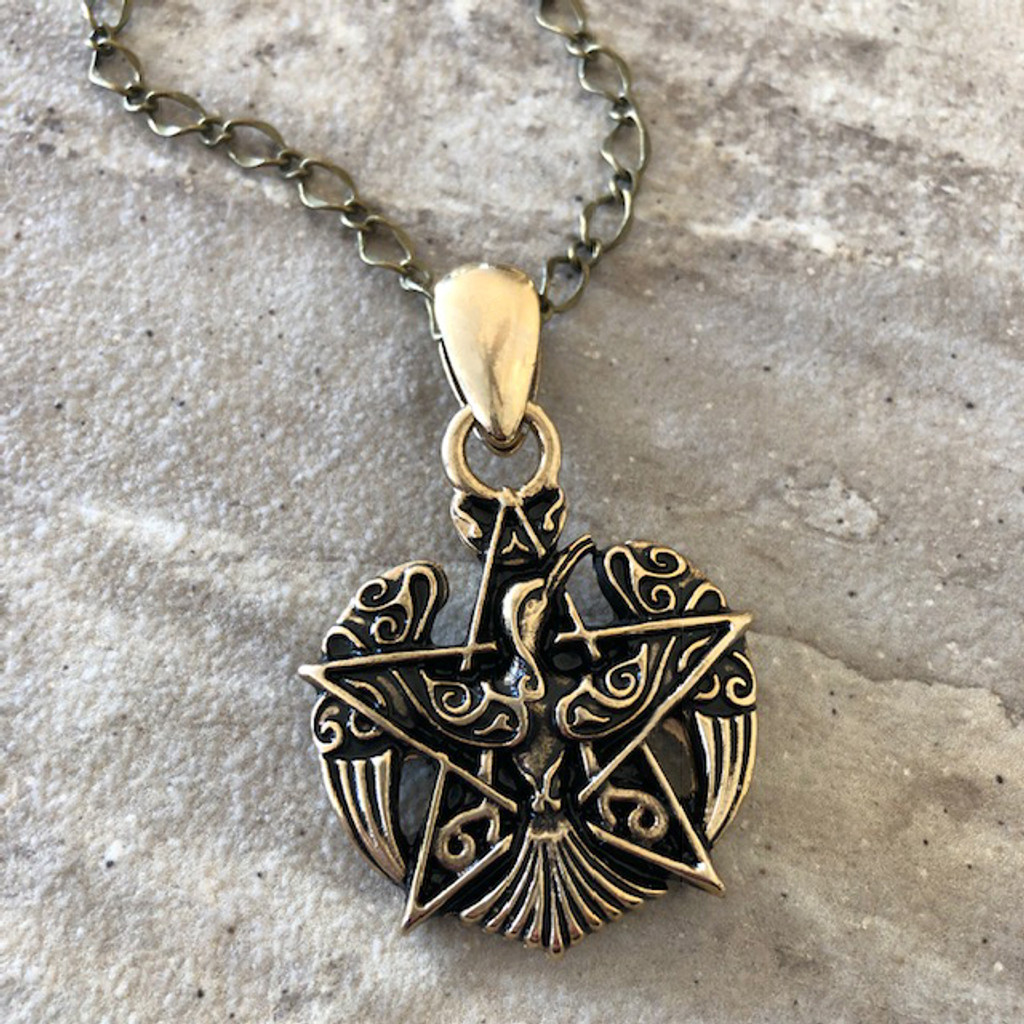 Pentacle & Phoenix Firebird Amulet Pendant Necklace in 24K Gold