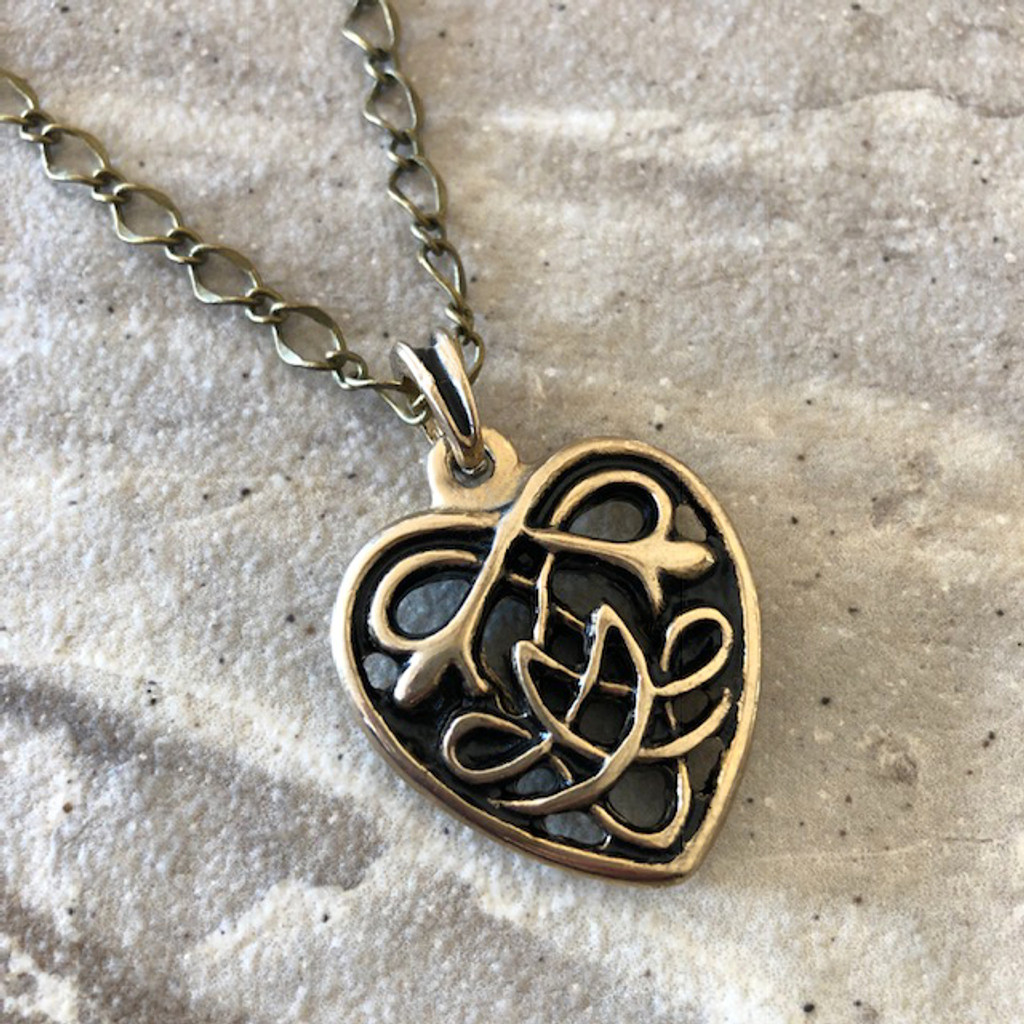 Celtic Heart Amulet Pendant Necklace in 24K Gold