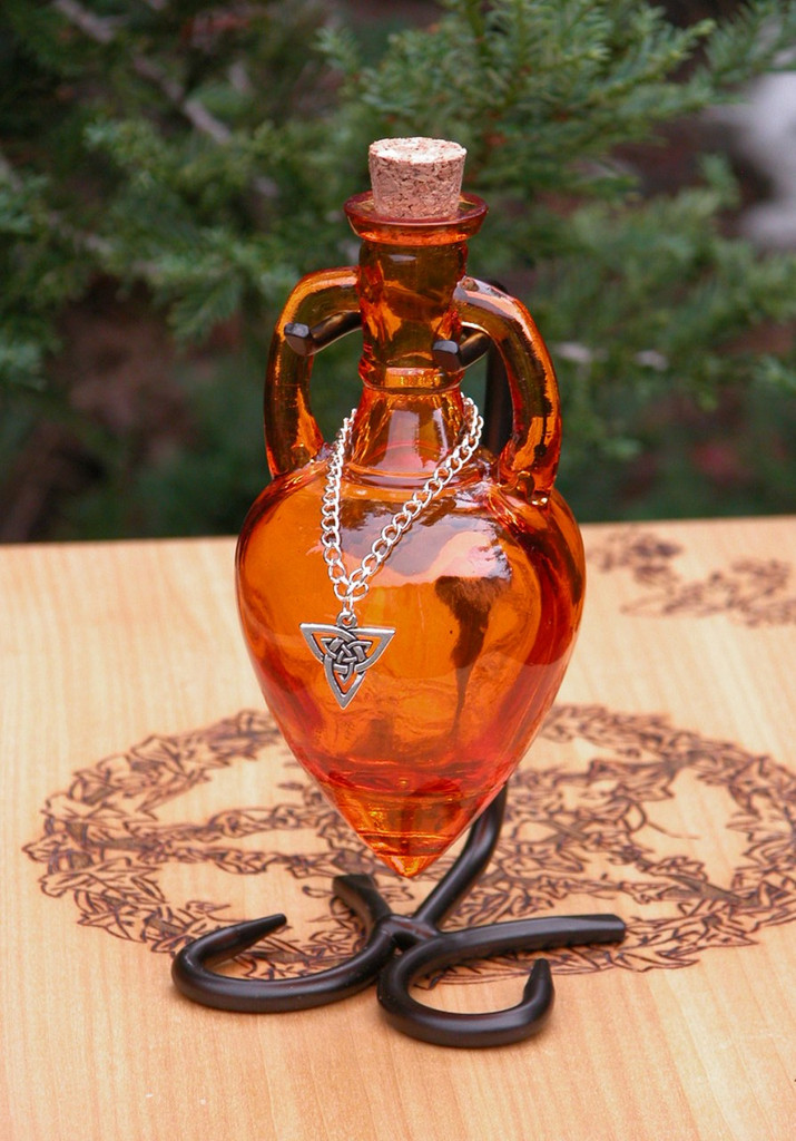 Ancient Magick Potion Bottle Vessel with Metal Stand - Amber