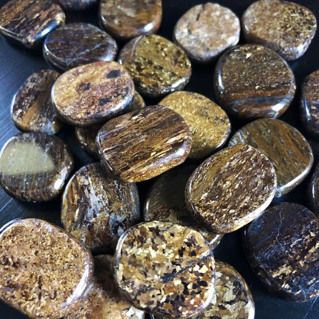 Bronzite Gemstone Medallions for Shielding Negativity, Reversing, Strength & Courage