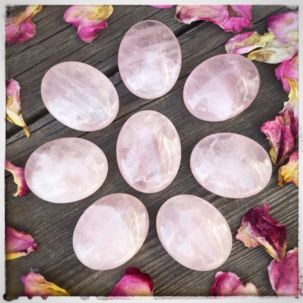 Rose Quartz Polished Palm Stones for Love, Healing & Compassion