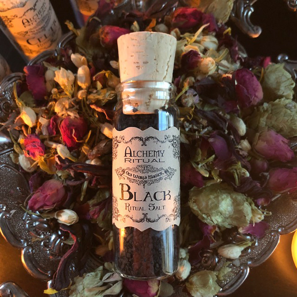 Black Witches Salt for Protection, Banishing, Purification, Curse & Hex Breaking, Shadow Works & Change . Culinary . One Ounce