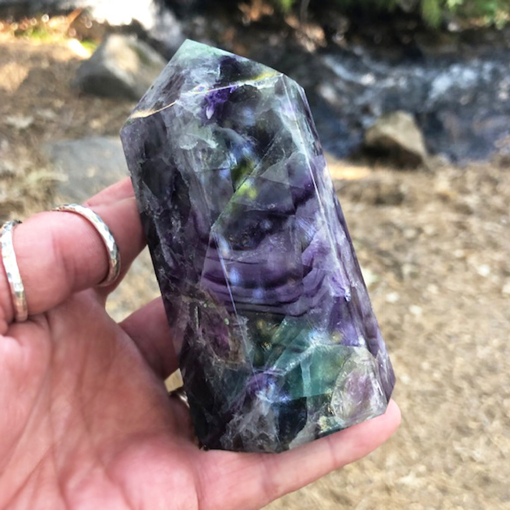 Amazing Gorgeous Big Fluorite Standing Point with Tons of Deep Purples, Greens & Crystally Swirls #7