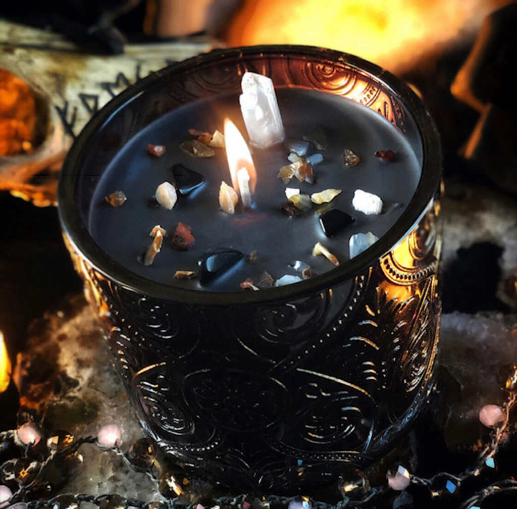 Veiled Candle Vessels for Samhain & Witches New Year with Black Obsidian, Carnelian & Quartz Points