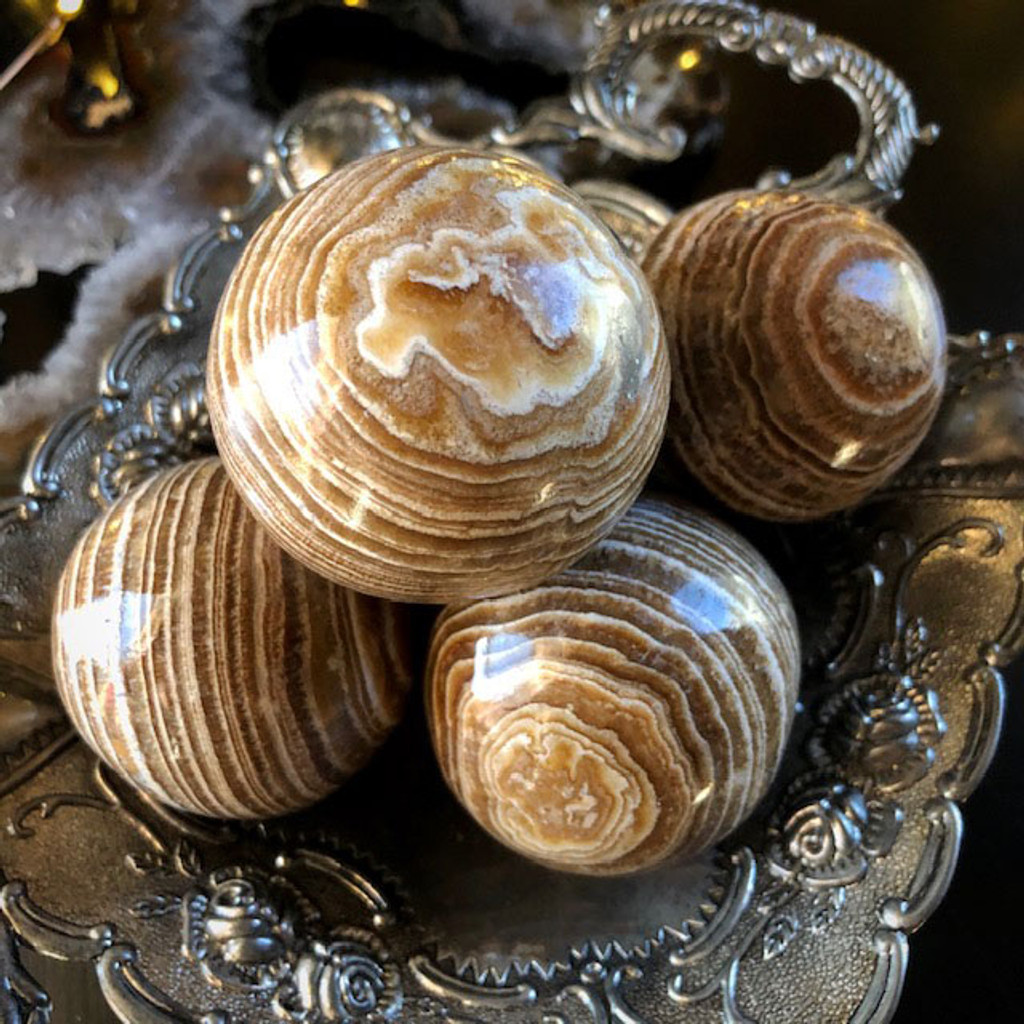 Aragonite Gemstone Spheres for Healing, Calming Nerves, Insight & Spiritual Enlightenment