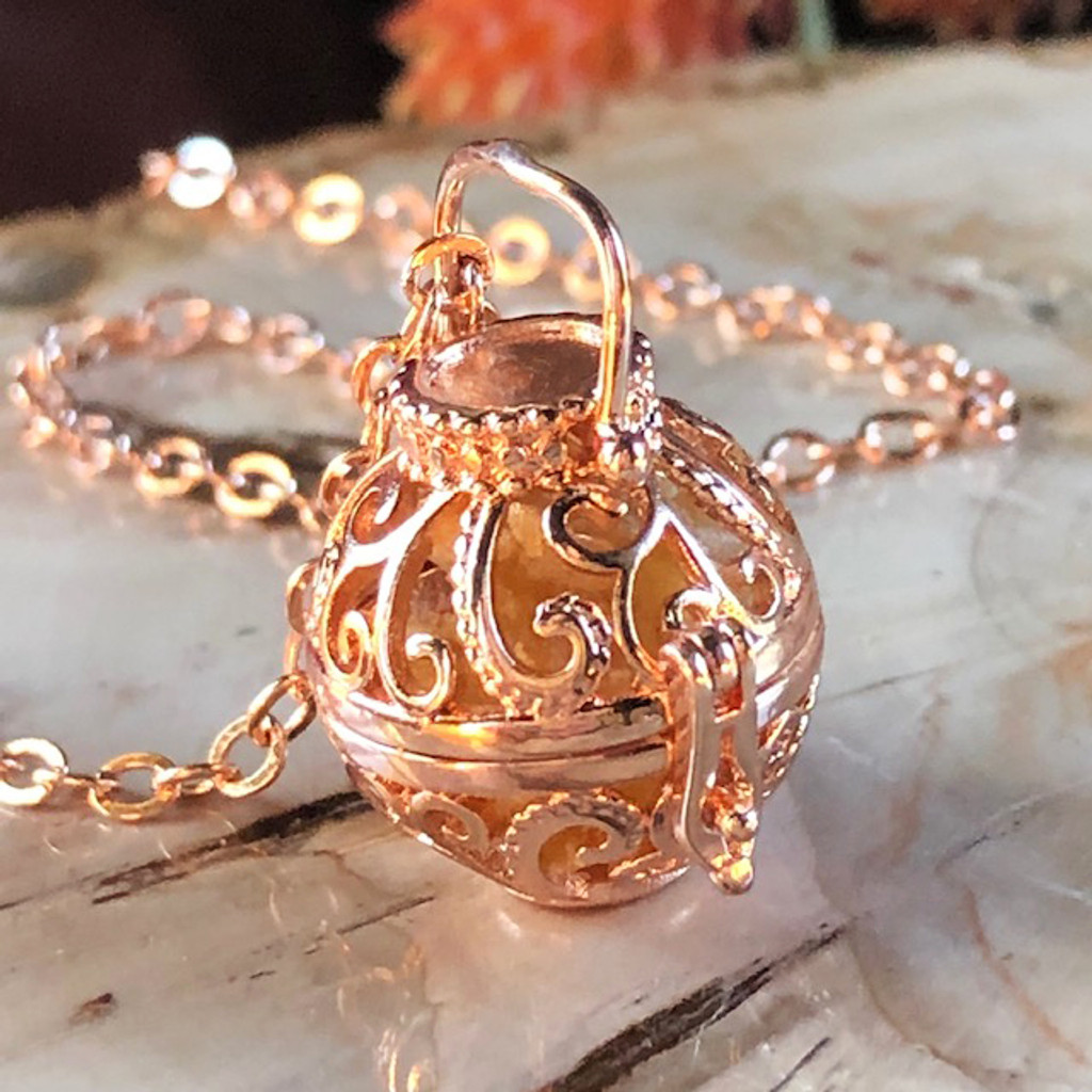 Rose Gold Amber Fairy Locket with Pure Amber Resins