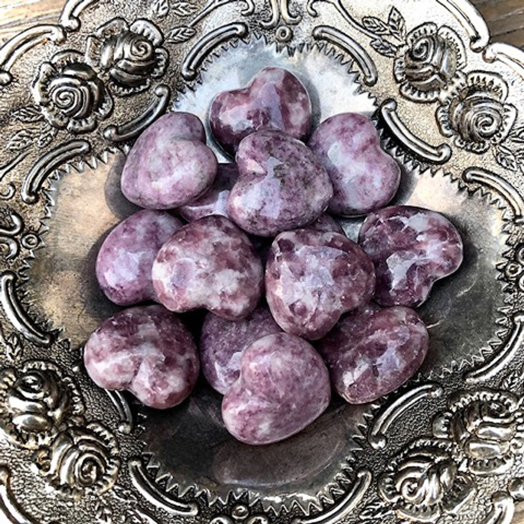 Lepidolite Gemstone Hearts