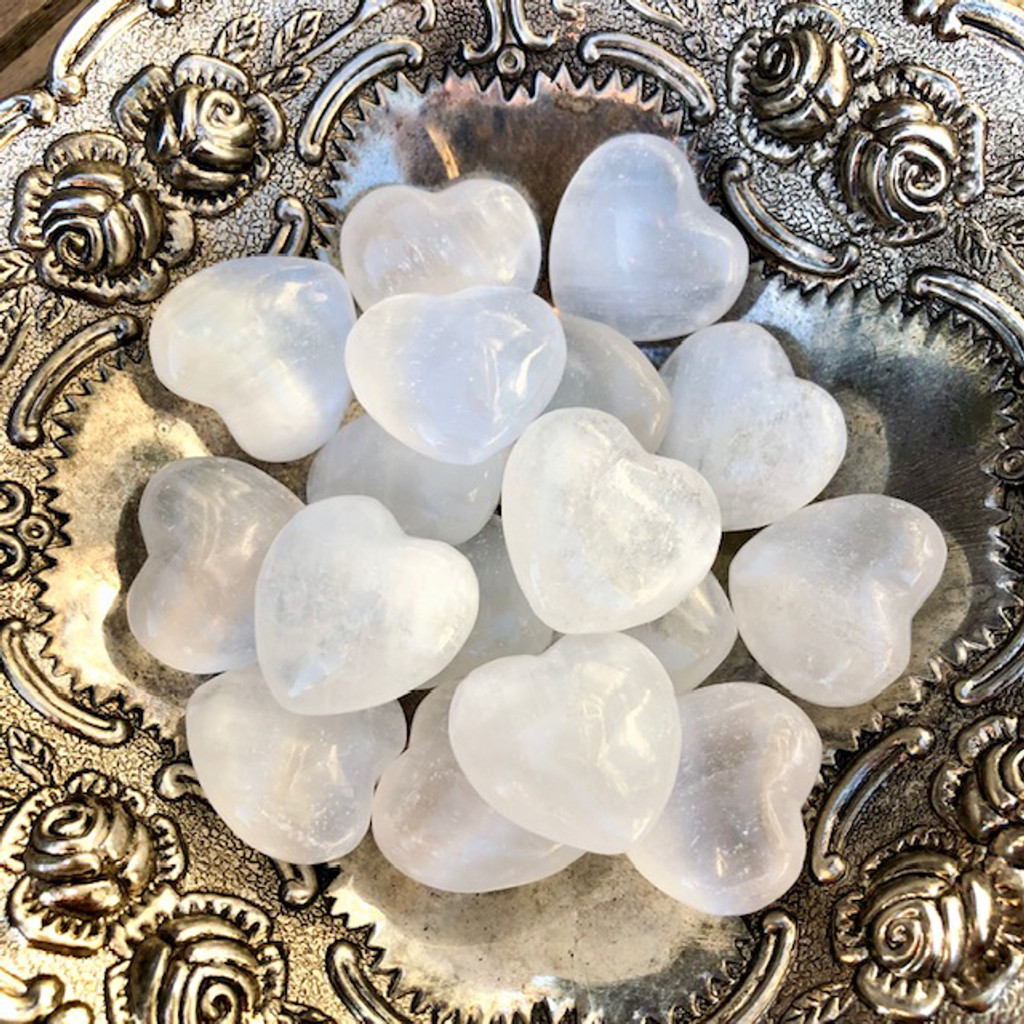 Selenite Gemstone Hearts | Protection, Intuition, Focus & Fertility