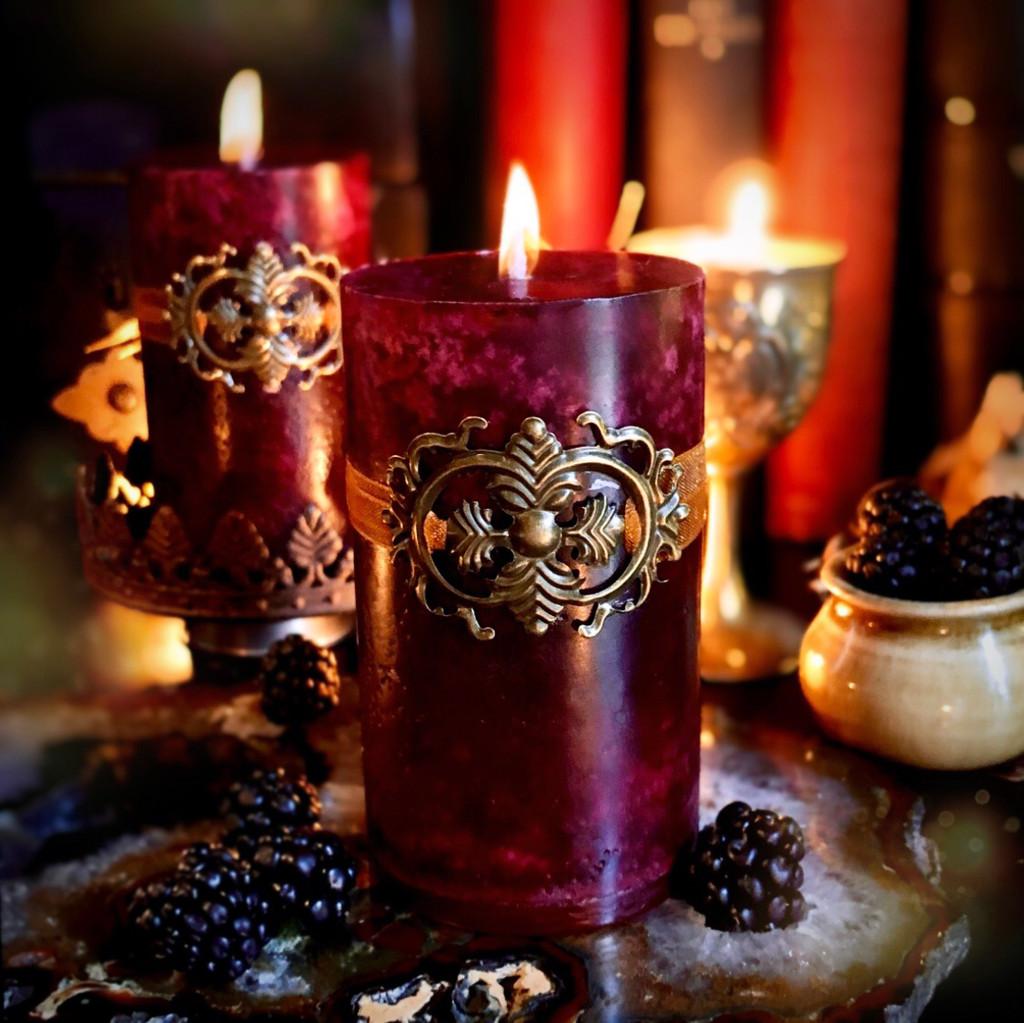Haute Harvest   Candles for Lughnasadh, Mabon, Blackberry, Boysenberry, Violet, Vanilla & Black Amber Plum