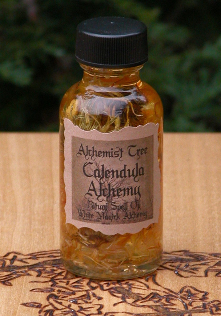 "Calendula Alchemy ""Alchemist Tree"" Ritual Spell Oil . Heightening Psychic Powers, Divination, Dreamworks, Banishing Evil and Protection"