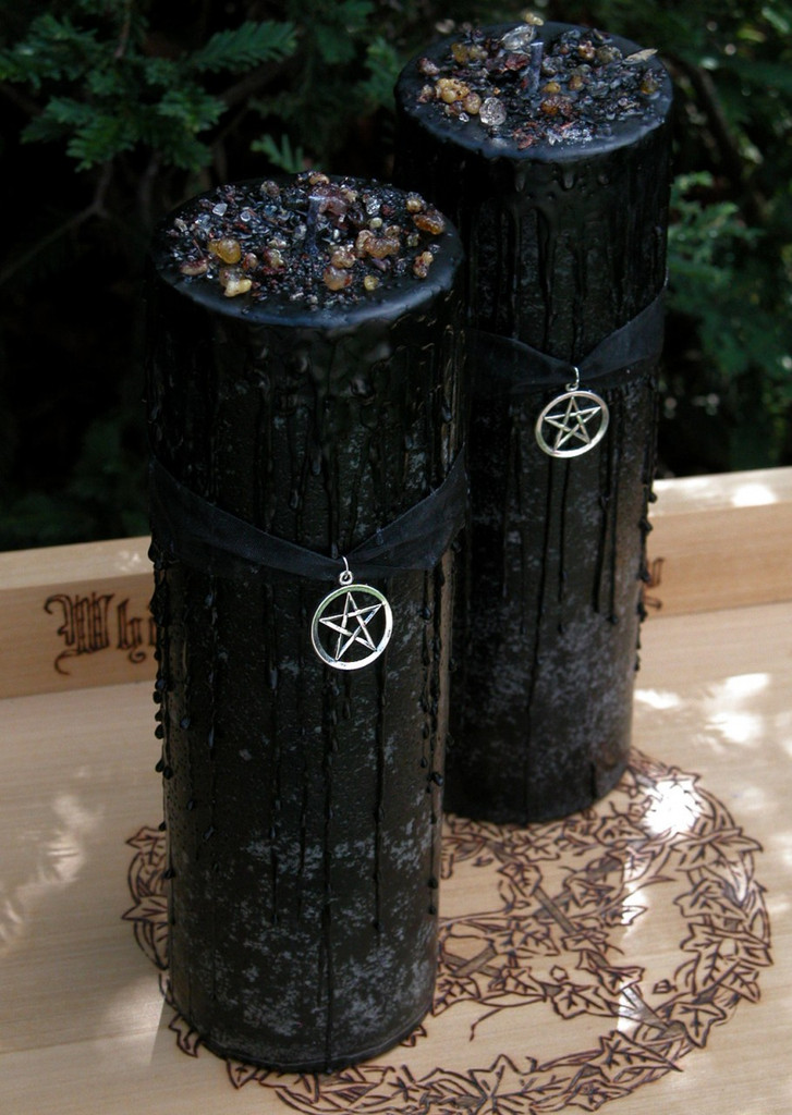 Witches Magick Alchemy Pillar 3x9 for  Sacred Ritual, High Magick, Protection, Luck in Love and Money, Clearing, Positive Energy, Banishing