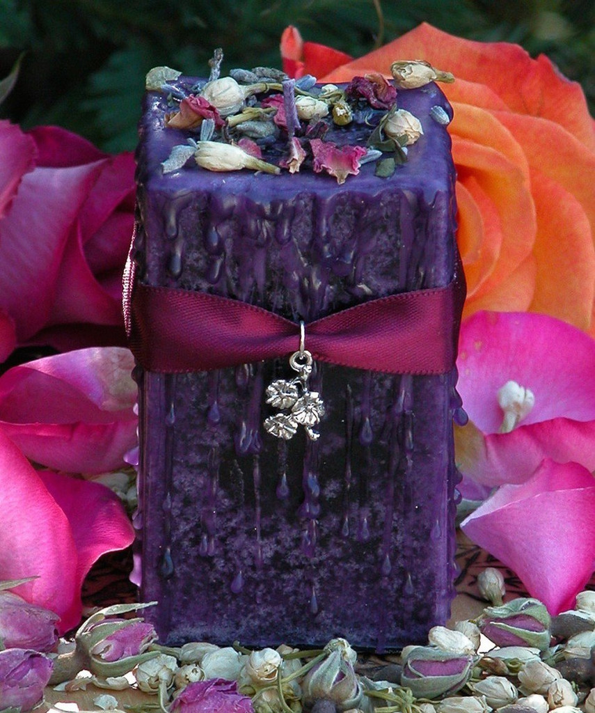 Promise of Spring Imbolc Alchemy Pillar Candle 2x3 with Fresh Flowering Winter Flora drenched in a Frosty Ozonic Cream