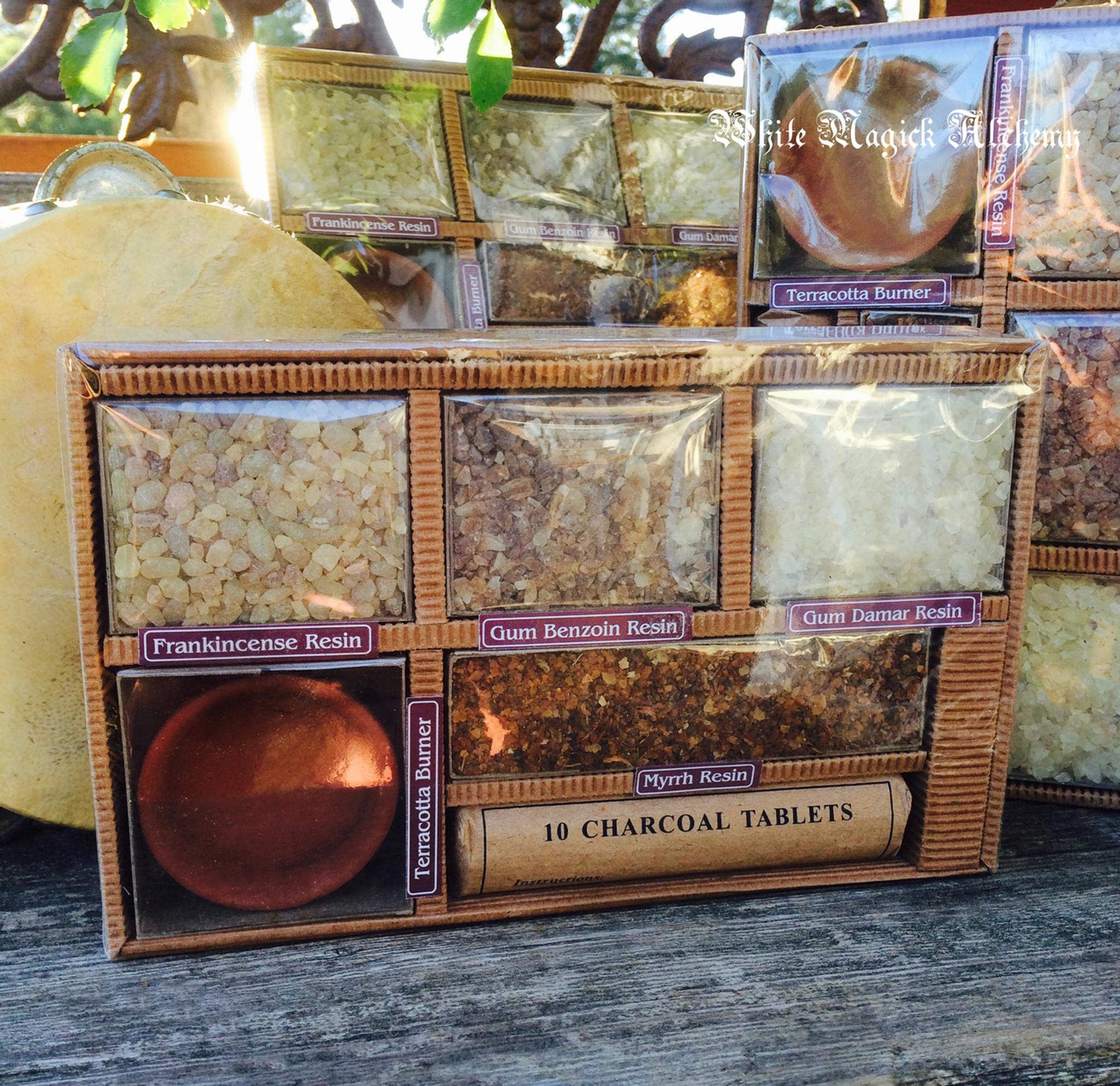 Sacred Trees Resin Incense Set With Frankincense Benzoin Damar Myrrh Burning Vessel Charcoal Disks