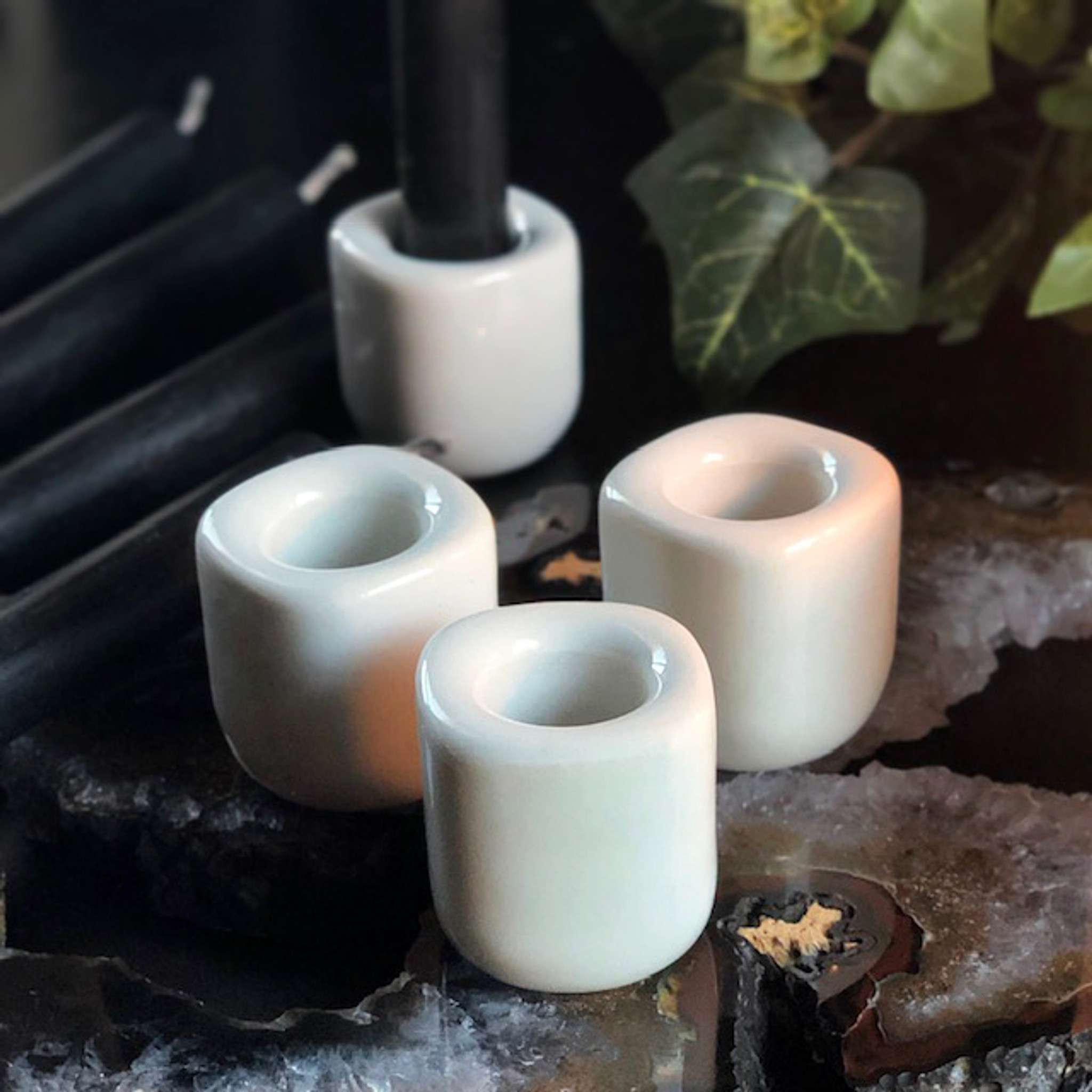 Porcelain Candle Holders Glass Ceramic 7/7 inch for Mini Spell Candles