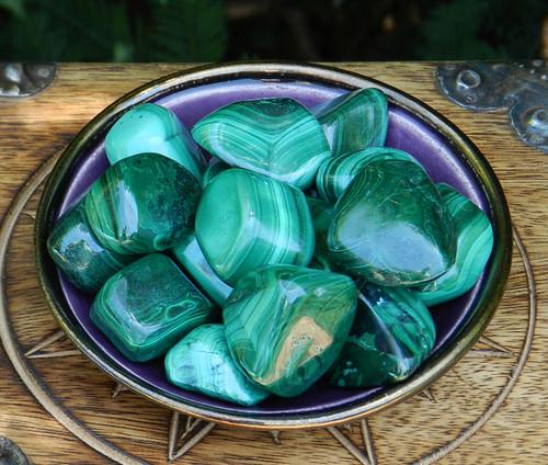 Malachite Tumbled Gemstone Jumbo for Healing, Wisdom, Power, Strength, Blockages, New Beginnings