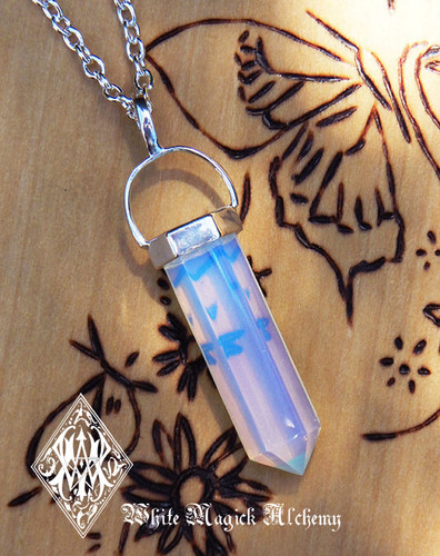Opalite Pendulum Necklace . Meditation, Communication, Success, Peace, Sleep, Sex, Release Worry & Fear