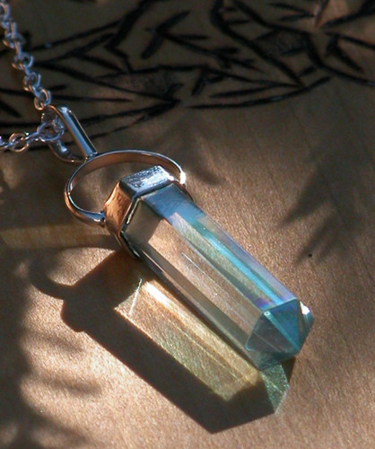 Aqua Aura Pendulm Necklace . Communication, Truth, Spirituality, Protection